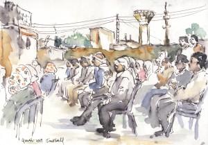 Asamblea de una comuna en un barrio de Qamislo