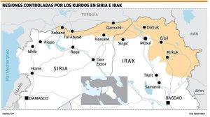 Areas Kurdas liberadas en Rojava e Irak