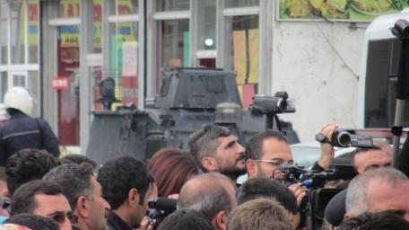 Algunos periodistas en la concentración