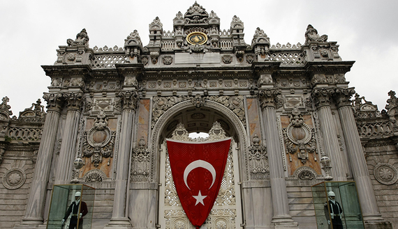 The Ottoman era Dolmabahce Palace is decorated with a huge Turkish flag as part of the National Sovereignty and Children's Day celebrations in Istanbul