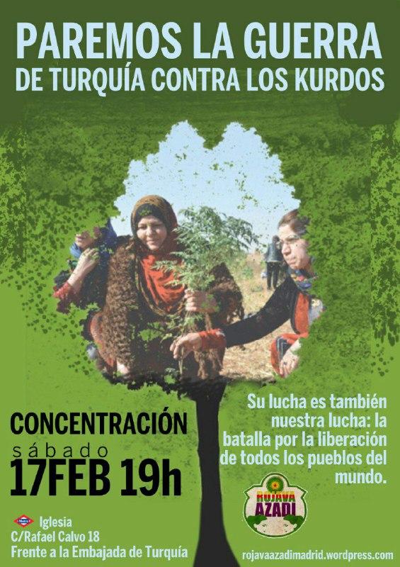Sábado 17 febrero [Concentración] Paremos la guerra de Turquía contra Efrîn