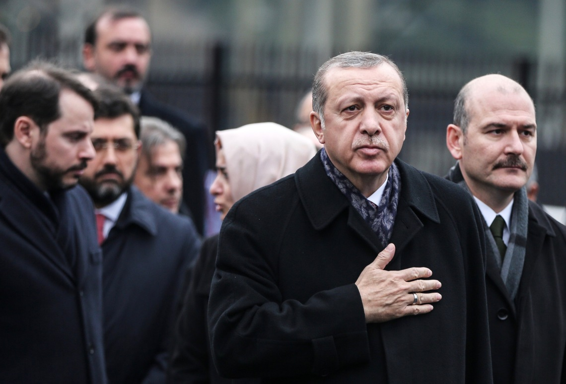 Turkish President Erdogan at the site of Istanbul terror attacks